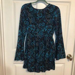 Deep Blue Paisley Printed Bell Sleeve Dress